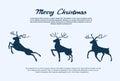 Année santa deer de noël de silhouette de renne nouvelle Images stock
