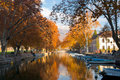 Annecy Canal Fall Colors Royalty Free Stock Photos