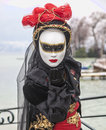 Annecy france february portrait person mask blowing kiss to camera annecy venetian carnival which celebrates beauty real venice Royalty Free Stock Image
