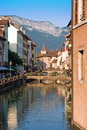 Annecy france view and mountains french alps Royalty Free Stock Images
