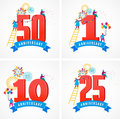 Anniversary - background with people celebrating icons and numbers Royalty Free Stock Photo