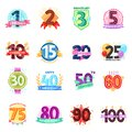 Anniversary badges vector birthday cartoon numbers emblems holiday anniversarily festive celebration birth age letter