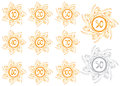 Anniversary banners set of golden floral Royalty Free Stock Photo