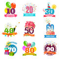 Anniversary birthdays emblems icons set festive for personalized gifts cards and presents colorful abstract isolated vector Royalty Free Stock Image