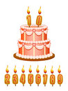 Anniversary cake with candles Royalty Free Stock Photos