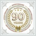 Anniversary card 90 years with a gold laurel wreath