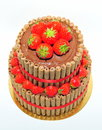 Anniversary chocolate cake decorated with fresh strawberries strawberry two tier Stock Photos