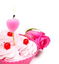Anniversary cupcake tasty with candle on white background Royalty Free Stock Photo