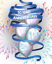 ANNIVERSARY DAY BANNER CARD WITH FIREWORKS LONG BLUE RIBBON AND AIR BALLOONS Royalty Free Stock Photo