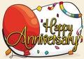 Anniversary Design with Balloon, Serpentine and Confetti, Vector Illustration