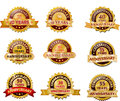 Anniversary gold badge set vector Royalty Free Stock Photo