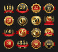 Anniversary golden signs set Royalty Free Stock Photo