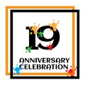 19 anniversary logo vector template. Design for banner, greeting cards or print