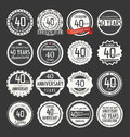 Anniversary retro badge collection, 40 years Royalty Free Stock Photo