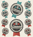 Anniversary sign collection and cards design in retro style template of jubilee or birthday card with number editable vintage Royalty Free Stock Images