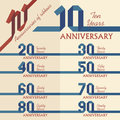 Anniversary sign collection in ribbons shape flat design Stock Image
