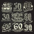 Anniversary signs chalkboard set celebration ceremony congratulations collection isolated vector illustration Stock Images