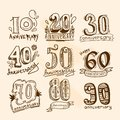 Anniversary signs set celebration hand drawn collection isolated vector illustration Royalty Free Stock Photography