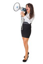 Announcement beautiful businesswoman with a megaphone over a white background Stock Image
