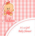 Announcement card with baby girl,vector Stock Photography