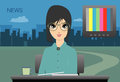 Announcer female anchor to the city as a backdrop Royalty Free Stock Image