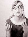 Annoyed nervous woman portrait anger and rage concept young expressive show her bad face angry girl human full of negative Stock Photo