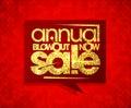 Annual blowout sale now, speech bubble design.
