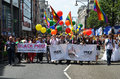 The annual pride march through london that celebrate gay lesbia june goes londons oxford street celebrates lesbian and bi sexual Royalty Free Stock Photography