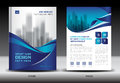Annual report brochure flyer template, Blue cover design