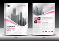 Annual report brochure flyer template, Pink cover design