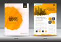 Annual report brochure flyer template, Yellow cover design