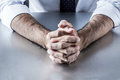 Anonymous leader hands waiting or thinking at meeting or interview Royalty Free Stock Photo