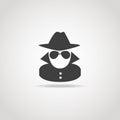 Anonymous spy icon black of agent Stock Image