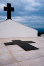 Anonymous tombstone cemetery in corsica on a mountain top Royalty Free Stock Images