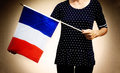 Anonymous Woman with French Flag Royalty Free Stock Photo