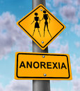 Anorexia disease and eating disorder medical concept with the psychological fear of getting fat or gaining weight as a yellow Stock Photography