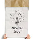Another idea light bulb with recycle envelope background as creative concept Stock Photos