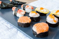 Another sushi on disc japanese food many Stock Photo