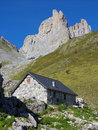 Ansabere mountain retreat at the foot of mount petrechema france Royalty Free Stock Photo