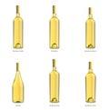 Ansammlung Flaschen weißer Wein Stockbild