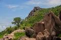 Anse marron tropical beach at seychelles la digue island Royalty Free Stock Images