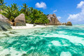 Anse Source d'Argent - Beach on island La Digue in Seychelles Royalty Free Stock Photo