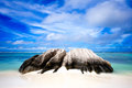 Anse source d argent la digue seychelles big rock in beach Stock Image