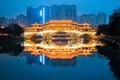 Anshun bridge in nightfall Royalty Free Stock Photo