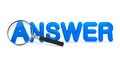 Answer concept with magnifying glass blue word on white Royalty Free Stock Photography