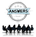 Answers explanation question opinion suggestion concept Royalty Free Stock Images