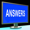 Answers screen shows support assistance and help online showing Stock Photo