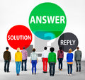 Answers solution reply response problems concept Royalty Free Stock Photos