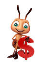 Ant cartoon character with doller sign d rendered illustration of Stock Photo