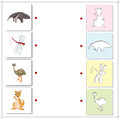 Ant-eater, dragonfly, emu and kangaroo. Educational game for kid